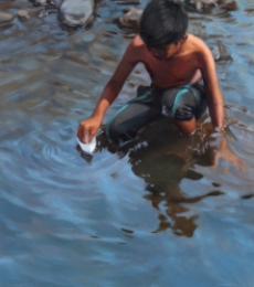 Figurative Oil Art Painting title 'Paper Boat' by artist Manoj Deshmukh