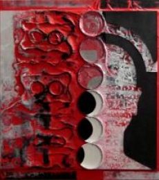 Vivek Rao | Scarlet Tides Duality Of Grey I Mixed media by artist Vivek Rao on wood and acrylic | ArtZolo.com