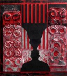 Scarlet Tides Duality Of Grey -IV | Mixed_media by artist Vivek Rao | wood and acrylic