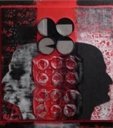 Scarlet Tides Duality Of Grey -IX | Mixed_media by artist Vivek Rao | wood and acrylic