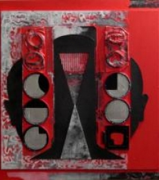 Scarlet Tides Duality Of Grey -V | Mixed_media by artist Vivek Rao | wood and acrylic