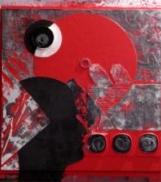 Scarlet Tides Duality Of Grey - X | Mixed_media by artist Vivek Rao | wood and acrylic