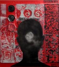 Scarlet Tides Duality Of Grey - XI | Mixed_media by artist Vivek Rao | wood and acrylic