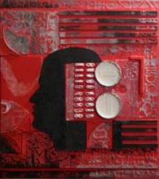 Vivek Rao | Scarlet Tides Duality Of Grey III Mixed media by artist Vivek Rao on wood and acrylic | ArtZolo.com