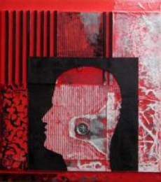 Scarlet Tides Duality Of Grey-VII | Mixed_media by artist Vivek Rao | wood and acrylic