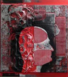 Scarlet Tides Duality Of Grey-XII | Mixed_media by artist Vivek Rao | wood and acrylic