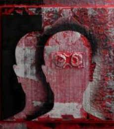 Scarlet Tides Duality Of Grey-XIV | Mixed_media by artist Vivek Rao | wood and acrylic