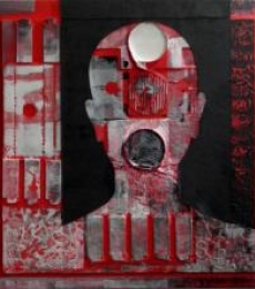 Scarlet Tides Duality Of Grey-VIII | Mixed_media by artist Vivek Rao | wood and acrylic