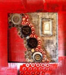 Vivek Rao | Decorative Assemblages VIII Mixed media by artist Vivek Rao on wood | ArtZolo.com