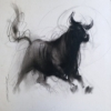 Ganesh Hire | Charcoal Painting title Bull 4 on Paper | Artist Ganesh Hire Gallery | ArtZolo.com