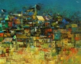 art,painting,abstract,hut,building,house,india,village