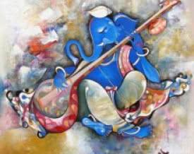 art,painting,ganesh,ganesha,god,music,indian