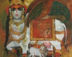 art,painting,mythology,indian,artist,rajeshwar,nyalapalli,kamdhenu