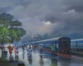 art,painting,canvas,wet,platform,bijay,biswaal,indian,artist,rain,monsoon,railway