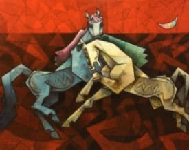 Horses Dancing Under The Moon 2 | Painting by artist Dinkar Jadhav | acrylic | Canvas