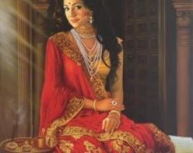 lady,women,woman,indian,girl,beautiful,seduction,seduce,hair,saree,saare,saari,sari,mirror,lantern,cosmetics,reflection,tradition,print,oil on canvas,kamal