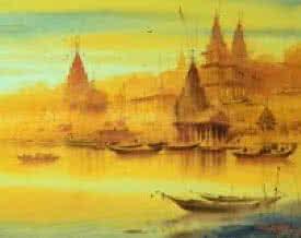 art,painting,banaras,ghat,shore,nature,seascape,watercolor