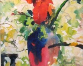 Red Flower With Vase | Painting by artist Manas  Biswas | Watercolor | Paper