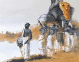 Elephant Procession 1 | Painting by artist Pankaj Bawdekar | acrylic | Canvas