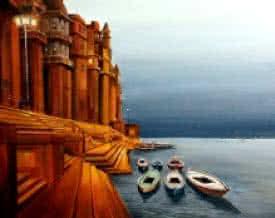 Varanasi Ghat at Night | Painting by artist Samiran Sarkar | acrylic | Canvas