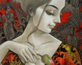 art, painting, mixed media, canvas, figurative