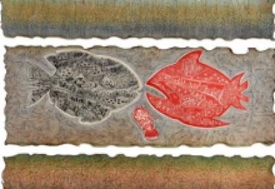 Animals Mixed-media Art Painting title Dream City Aquarium 6 by artist Bitarka Majumder