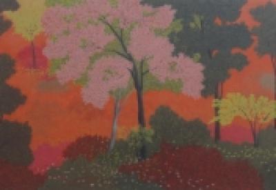 Nature Acrylic Art Painting title 'Forest' by artist Shuvankar Maitra