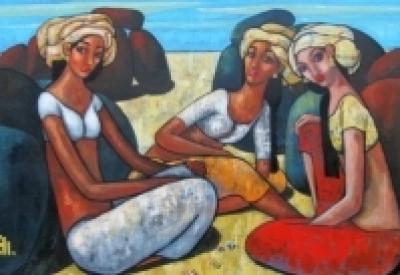 Suruchi Jamkar | Acrylic Painting title Girls Playing Marbles 2 on Canvas