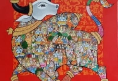 Vivek Kumavat | Acrylic Painting title Nandi 38 on Canvas