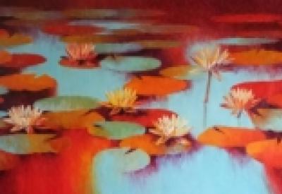 Nature Oil Art Painting title Waterlilies 113 by artist Swati Kale