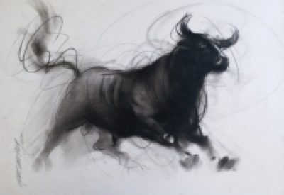 art, painting, charcoal, paper, animal, bull