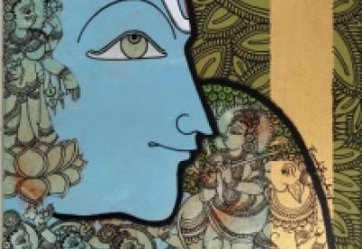 Religious Acrylic Art Painting title 'Gopashtami' by artist Ramesh Gorjala