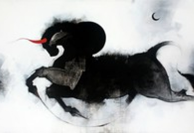 Religious Acrylic Art Painting title Nandi by artist Amol Pawar