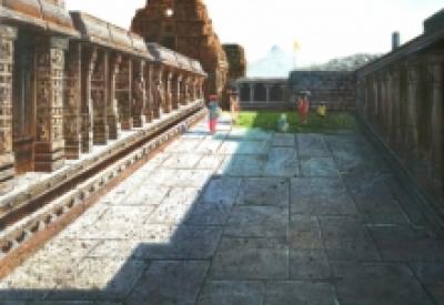 Religious Oil Art Painting title Vitthala Temple Hampi 37 by artist Pravin Pasare