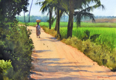 Cityscape Watercolor Art Painting title Off To Work by artist Ramesh Jhawar