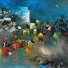 Abstract Acrylic Art Painting title 'Village Of My Dreams I' by artist M Singh