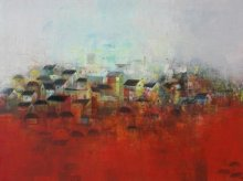 Abstract Acrylic Art Painting title 'The Village' by artist M Singh