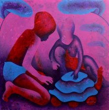 Lakhan Singh Jat | Acrylic Painting title Athkheliyan 64 on Canvas | Artist Lakhan Singh Jat Gallery | ArtZolo.com