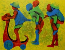 Figurative Acrylic Art Painting title 'Athkheliyan 56' by artist Lakhan Singh Jat
