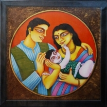 art, painting, kalighat, bengali, couple, family, indian