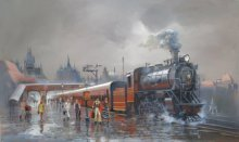 Bijay Biswaal | Acrylic Painting title Wet Platform Retro 1970 on Canvas