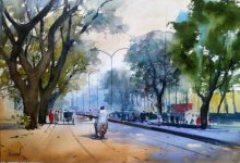 Cityscape Watercolor Art Painting title 'Nagpur Road' by artist Bijay Biswaal