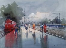 Cityscape Watercolor Art Painting title 'Wet Platform Red' by artist Bijay Biswaal