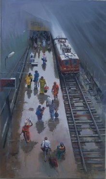Bijay Biswaal | Acrylic Painting title Wet Platform Nagpur on Canvas