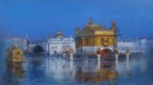 Cityscape Acrylic Art Painting title 'Train to Golden Temple' by artist Bijay Biswaal