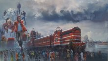 Bijay Biswaal | Acrylic Painting title Wet Platform Chennai on Canvas