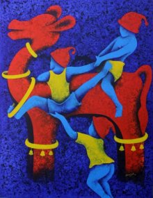 Lakhan Singh Jat | Acrylic Painting title Athkheliyan 19 on Canvas | Artist Lakhan Singh Jat Gallery | ArtZolo.com