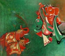 Religious Acrylic Art Painting title 'Ganesha with Elephants' by artist M Singh