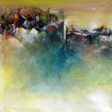 Abstract Acrylic Art Painting title 'The Distant View Of A Village' by artist M Singh