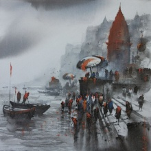 art, painting, banaras, ghat, varanasi, water, seascape